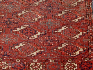 "Finest small size 25-gul Tekke chuval fragment, mid nineteenth century, all dyes natural, 27"" by 36"".  Please ask for  additional photos."