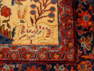 Circa 1910 small Kashan pictorial tree of life carpet or poshti, featuring deer and birds, in overall good condition, beautiful silky wool, and very tight weave.  Over two feet by 4  ...