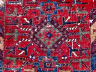 """Kurdish/Anatolian fragment, early 19th Century or before, 38"""" by 46"""", with an extraordinary array of saturated colors.  Reddish wool wefts, white cotton warps.  Photos taken outside in mostly sunny conditions.  ..."""
