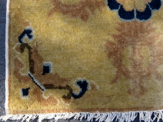 """Antique double-dorje Chinese sitting mat, 19th Century, in excellent condition, original sides and ends, cotton warps and wefts, beautiful wool, roughly 26"""" square.  Please ask for additional photos"""