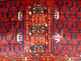 """19th Century (third quarter or before)Tekke engsi, as found.  Rare bird head designs on the """"kush"""" motifs in the field. Please ask for additional photos."""