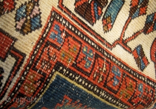 """Unusual Heriz mafrash? panel on wool warps and mixed wool and cotton wefts, early 20th century, 18"""" by 41"""".  Please ask for additional photos if needed."""