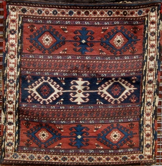 Complete Qarabagh soumac (soumak, sumak) khorjin or saddlebags, second half of the 19th century.  Lovely condition. However it appears as if the bags were once separated, and then reattached without apparent  ...