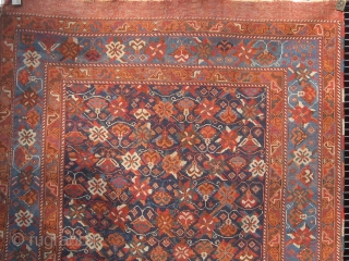 """Antique Afshar with rare floral design circa 1880, all dyes natural, original flat weave ends and original sides, in lovely condition, 4'2"""" by 5'9"""".  Please ask for additional photos."""