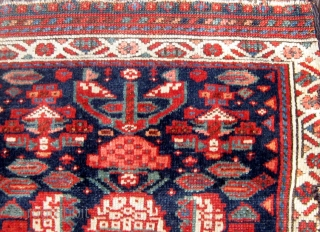 """Antique North West Persian Kurdish fragmented bag front, 19th Century, all natural dyes.  Roughly 22"""" by 22"""".  Please ask for additional photos."""
