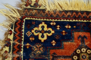 Extraordinay Luri fragmented bag front, extremely fine weave, fabric-like handle, all natural dyes including a beautiful rose and dark apricot, mid 19th Century.  Please ask for additional photos if needed.