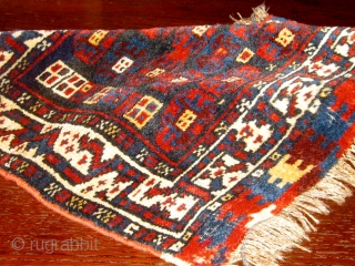 "Antique Luri saddle bag front--bag face--circa 1900, full fleecy pile, beautiful natural colors, unusual field design.  33"" by 22"". Please ask for additional photos."