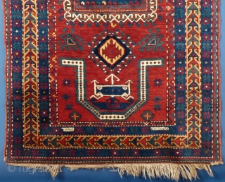 "Caucasian, Double Niche Kazak, wool, c, 1900, 93"" X 51"", Signed, Excellent condition. SOLD"