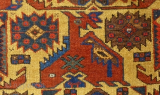 """Antique Afshar, 75"""" X 65"""", Almost mint...  Please note, the gold color is actually more of a """"Camel"""" color in reality...  SOLD"""