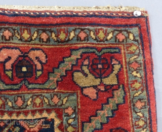 This is a fragment of what I believe to be a Kashan or Farrahan(?) It is in very good condition. It may have been the end of a runner(?) There are 2 small paint drips  ...