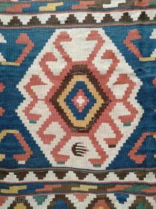 Caucasian antique kelim in good condition.  Rare details and great colors.  Size: 280x196 cm.