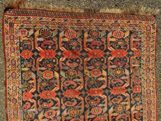 Antique Afshar carpet  Part of end border missing   168 x 107 cm