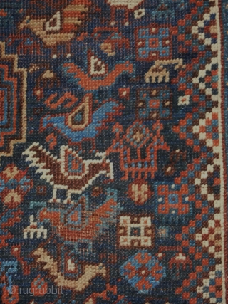 Khamseh Bird rug  4.1x4.10 all wool and natural dyes  late 19th