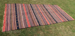 Kurdish ( Anatol.) Kelim, Large, wool on wool ,braided end, cleaned. Natural colored, some corrosion in the black ,good overall condition. ( b.c.) thick. 