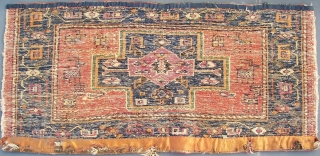 Antique N.W. Persian bag-panel. With animals. No restorations.  110 cm. x 51 cm. Wool on wool with cotton wefts. Very thick & rugged. Ca 2,5 cm. Pre 1900. According to its  ...