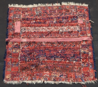 Luri\Bakhtiari animal flatweave unwashed and unrestored fragment , no suspect and bad synthetic colors.  pre 1930. Wool on wool, see also Opie James,( 1992) Tribal Rugs page 123. More pics if  ...
