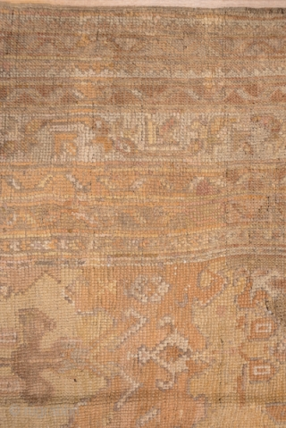"""Oushak   12.0 x 13.8  3.65 x 4.20  The all over large scale pattern on this rug is an adaption of a seventeenth century """"Smyrna"""" design, upsized and given a subtle palette. The complementary  ..."""