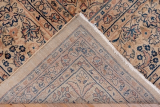 """Sarouk Carpet  12.1 x 18.0 3.68 x 5.48   Not in the usual """"American"""" style, this  semi-antique Arak province carpet shows a golden beige open field adorned with a small openwork medallion and a  ..."""