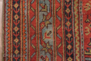 Oushak Carpet  12.10 x 16.7 3.68 x 5.09  This antique western Turkish carpet features a red field closely covered by alternating columns of palmettes and Yaprak lozenges with an attractive medium blue-green and a dark  ...