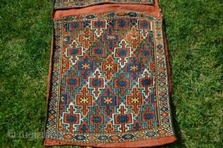 "Rare antique Kordi flatwoven khorjin.1'8-1/2""X4'2"". Circa 1900. Wool. Saturated natural dyes. Knotted weft wrapping from Lain district of Khorasan. For comparable example see Wilfried Stanzer's ""Kordi"" pp. 182-183. Perfect condition. Ex Adil  ..."