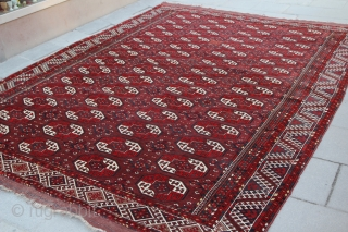 Semi Antique Afghan Turkmen Carpet, probably Kizyl Ayak or a related group Slightly Worn Field NIce quality 320cm x 230cm