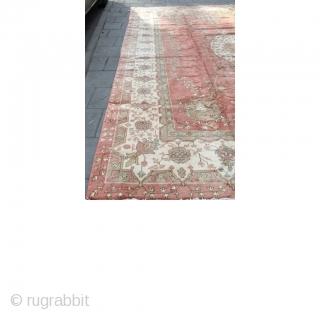 Borloo Oushak Matta Size: 435 x 340 ( 14'3 ft x 11'2 ) Elegant & Large Borloo Oushak Carpet from Turkey  Dusky pink field with elegant white border and matching central medallion.  Old re  ...