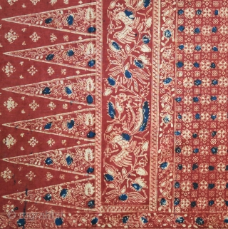 Sumatra | Early 20th C Batik  Hip wrapper (kain panjang)  Indonesia, Sumatra, Jambi, early 20th century  Commercial cotton, natural dyes, hand-drawn (tulis) and hand-stamped (cap) batik  A batik hipcloth most probably made in Jambi, Sumatra, with  ...