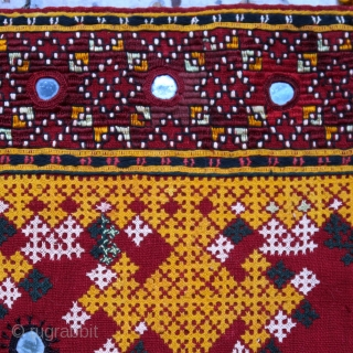 Rajasthan Sindh Embroidered Cover  Dowry cloth, pillow cover  Rajasthan, Jaisalmer, Sindh people, Mahar group, 20th century  Hand woven cotton, cotton and silk floss, mirrors, khaarek, interlacing and jat embroidery  A highly decorative squarish piece of lavish  ...