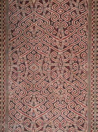Kalimantan | early 20th C ikat Iban skirt (kain kebat or bidang) | Indonesia   Borneo, Kalimantan, 1920 - 1940  Handspun cotton, warp ikat, alternating warp-faced float weave, natural dyes  A lovely Iban woman's skirt  ...