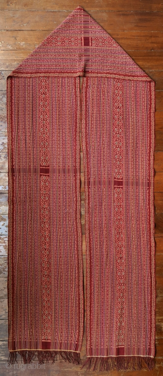 West Timor   early 20th C ikat sash (sikap)   Indonesia   Indonesia, West Timor, Malaka, Manulea, 1920—1940   Commercial cotton and dyes, warp ikat  A very fine, striped ikat men's sash (sikap) woven by  ...