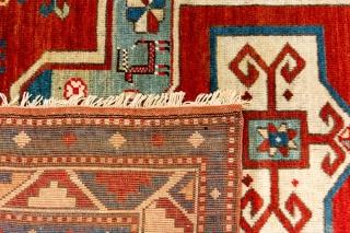 Antique Caucasian Fachralo Kazak prayer rug. Circa late 19th century. Excellent natural colours. 145cm x 125cm