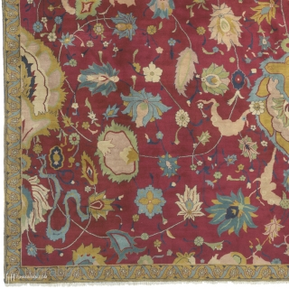 """Antique Indian Agra Rug India ca.1880 18'8"""" x 13'7"""" (570 x 415 cm) FJ Hakimian Reference #09073"""