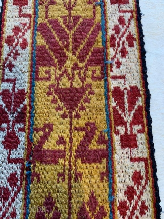 Antique Bolivion poncho bands intiguing zoomorphic patterns fine wool, good condition