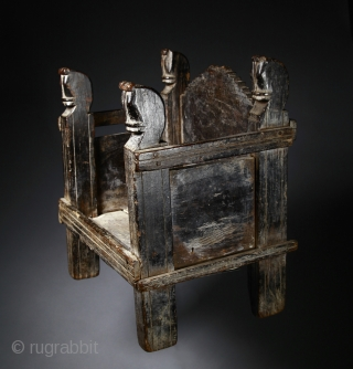 Antique domestic wooden altar for deiteis,  Rajasjhan, Northwest India.  Probably from Rajput culture.  19th century.  The lighter board at the bottom of the back of the altar was later brought back as  ...