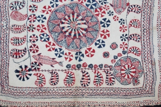 Kantha Quilted Embroidery with cotton thread Kantha Probably From East Bengal(Bangladesh)Region India.C.1900.Its size is 37cm x 40cm.(DSL03060).