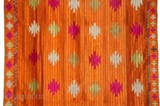 Phulkari From East(Punjab)India Called As Punjabi Bagh.Rare Design.Floss Silk on Hand Spun Cotton khaddar Cloth.Its size is 114cm x 244cm.(DSL03840).