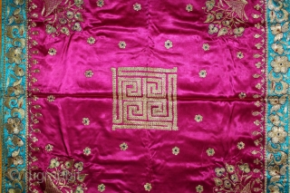 Jain Temple Hanging Aari Zari (Real Silver and Gold) Embroidery On Gajji Silk, From Kutch Gujarat India.C.1930.Its size is 82cm X 84cm.(DSL03410).