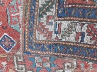 Late 19th century kazak longrug, worn but fun 2.60m by 1.35m