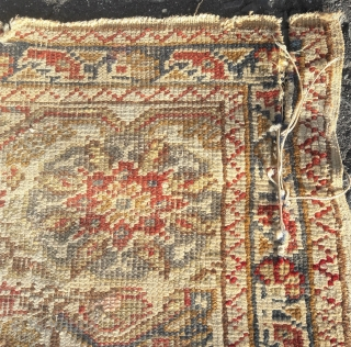 Late 18th/early 19th Giordes prayer rug, needs t.l.c. Note 3 column design, and some cotton knots 68in by 48in