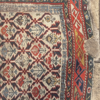 Beautiful 19th century Caucasian prayer rug,strikingly fluid graphics and great colours, but with condition issues. Has been washed and conserved.