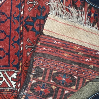 Late 19th century Ersari ensi, generally good condition, some minor old repairs. Note it retains its kelim end.