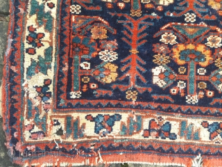 Pair of large late 19th century Afshar bags, in distressed condition, with good saturated colours, and long lustrous pile. 32in by 27in