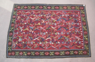 """Armenian kilim....dated and inscribed 1931....excellent condition....6'8"""" x 8'2"""" (203cm x 250cm ) many vegetal dyes , some aniline dyes...nicely rendered stylized horse and rider motif."""