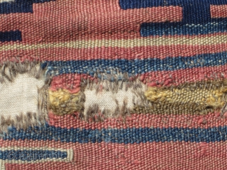 """West ( Kutahya ? ) or Central Anatolian ( Cappadocia ? ) kilim fragment....18th century or earlier.....2'6"""" x 3'3"""" (75 x 100cm )...salt and pepper warps....with selvedges....condition as found and shown (  ..."""