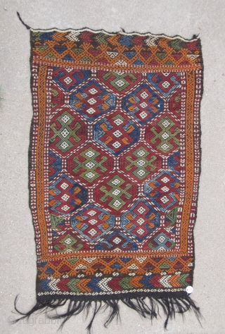 """Central Anatolian cupboard cover( Mut / Taurus Mountains)....probably last Quarter 19th .....2'6"""" x 4' (75 x 120cm ) ......goat hair and wool...unused condition...vegetal dyes...."""