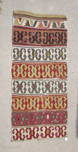 """Central Anatolian Konya kilim fragemnt.....circa 1800....2'4"""" x 5'3"""" (70 x 160cm ).....probably a half of a 1/2.....condition as found and shown"""