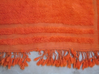 """Karapinar Tulu....mid 20th C.....looped technique / coverlet...wool and Angora goat hair...... 3'10"""" x 5'2""""...(120 x 160 CM )....dip-dyed with aniline dyes.... a few 'wish knots ' .... in good condition as found"""
