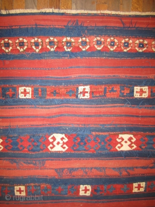 """Yuncu fragment.....mixed technique....circa 1875...Northwest Anatolia ...all vegetal dyes.....5'2"""" x 6'4"""" ( probably missing about 1'from each end )"""