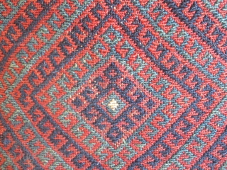 "West Persian ( Bijar ) Kurdish saddlebag Pillows...late 19th....sumack weave...all vegetal dyes...excellent condition....cotton velour backing....13"" x 16"" (33 x 40 cm )"