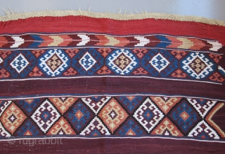 Southeast Anatolian Kurdish kilim.....before 1865.....excellent condition.... 4'x 5' (120cm x 150cm ) wool w/ cotton highlights